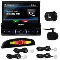 DVD Player Pósitron Bluetooth USB + Câmera Ré Universal + Sensor Estacionamento Branco - Prime