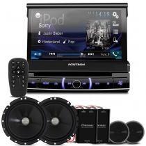 "DVD Player Pósitron SP6720 DTV 1 Din Retrátil 7"" + Kit 2 Vias Pioneer TS-C170BR 6"" 120W RMS - Prime"