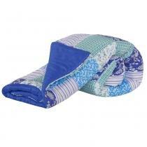 Edredom Casal Padrão Lauri 01 Peça Dupla Face Estampado - Cor 08 Azul Royal - Priori Enxovais