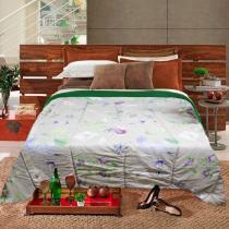 Edredom Casal Slim Hedrons Plush Soft Floral Verde e Cinza - Hedrons