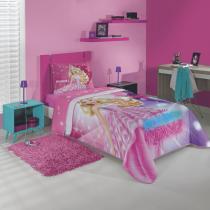 Edredom Infantil Barbie Rock Royals Algodão 1 Peça 200cmx150cm Lepper Rosa -