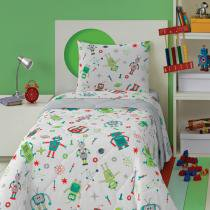 Edredom Infantil Estampado Vermelho Robôs 4669301 Lepper -
