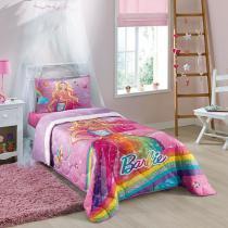 Edredom Solteiro Barbie Reino do Arco-Iris 1,50 m x 2,00 m - com 1 peça - Lepper - Companhia fabril lepper