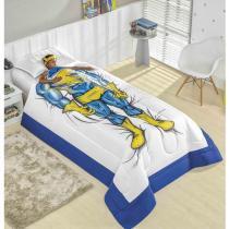 Edredom Solteiro Sonhadores Super Herói 02 Peças Acompanha Enfeite para Cabeça - Azul - Valle