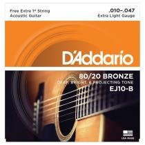 Encordoamento Para Violão 0.10 Bronze 80/20 Ej10-B D Addario - Daddario