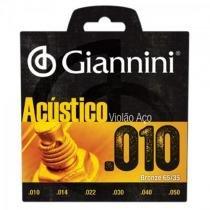 Encordoamento para violao geswam serie acustico aco 0.10 giannini - Giannini