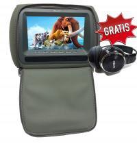 Encosto de cabeça c/ Tela de 7 pol. e leitor de USB / SD Card e jogos - 1 unid - Cinza - Xtune