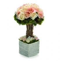 Enfeite Bouquet Topiaria com Rosas Francesas Cr - Cromus