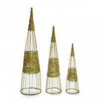 Enfeite Cone Rattan Ouro - 3 Unidades 60, 80 e 100 Cm - Cromus