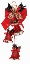 Enfeite de natal 3 sinos e laço vermelho 27 cm - Yangzi