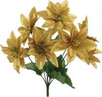 Enfeite de natal bico de papagaio 5 flores dourada 33 cm - Yangzi