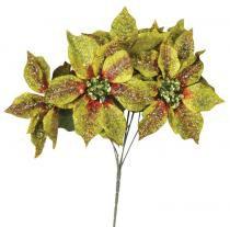 Enfeite de natal bico de papagaio 5 flores green 35 cm - Yangzi