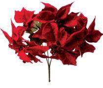 Enfeite de natal bico de papagaio 5 flores vermelhas 35 cm - Yangzi