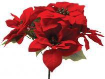 Enfeite de Natal Bico de Papagaio Veludo 5 Flores 35 Cm - Comprenet
