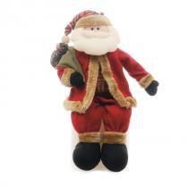 Enfeite de Natal Boneco Papai Noel Sentado c/ Saco de Presente Vermelho e Marrom Médio Cromus -