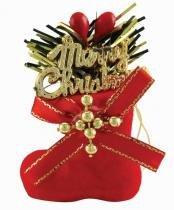 Enfeite de Natal Bota Veludo Decorada 4 cm com 4 - Comprenet