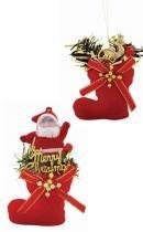 Enfeite de natal bota veludo decorada 5 cm com 2 - Yangzi