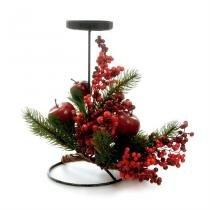 Enfeite de Natal Candelabro Cereja Verde e Vermelho c/ Vela Grande Cromus -