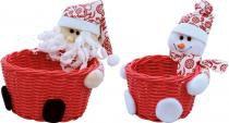 Enfeite de natal conjunto cesto papai noel e boneco de neve 14 cm vermelho - Yangzi