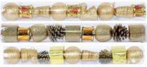 Enfeite de natal sortido 3 cm dourado tubo com 9 - Yangzi