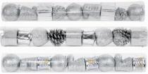 Enfeite de natal sortido 3 cm prata tubo com 9 - Yangzi