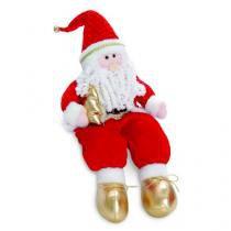 Enfeite Papai Noel com Arvore Sentado Vermelho 54 X 15 Cm - Cromus