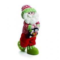 Enfeite Papai Noel Em Pé Vermelho Verde 42 Cm 42 X 12 Cm - Cromus