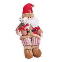 Enfeite Papai Noel Sentado Bege Vermelho - Cromus