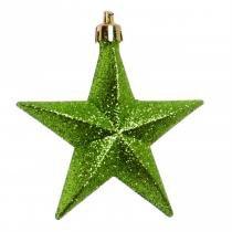 Enfeite para Arvore Estrela com Glitter Verde - 6 Unidades 10 X 10 Cm - Cromus