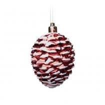Enfeite Pinha P/ Pendurar Árvore Natal 4 Pçs Vermelha - Cromus