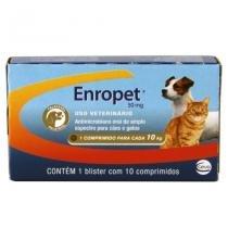 Enropet 50mg 10 comp Ceva Enrofloxacina Cães e gatos -
