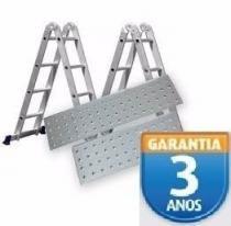 Escada 4x3 12 Degraus Articulada Plataforma 150kg - Mor