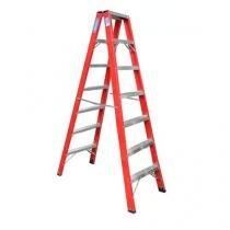 Escada americana de fibra tipo pintor de 14 degraus úteis FP114 - Alulev