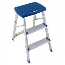 Escada Banqueta Dobravel em Aluminio Mor Capacidade 120 Kg -