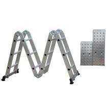Escada de Alumínio Multifuncional 14 em 1 com Plataforma - 12 Degraus - D178804 - Evolux