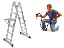 Escada Multiuso Super Ladder + Pulverizador Para Pintura Paint Zoom - Polishop