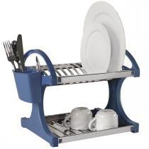 Escorredor De Louça Azul Aço Inox 12 Pratos 2104/260 Brinox -