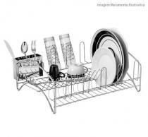 Escorredor de Louças Laminox com Porta Talher Inox Ref.7919 Passerini -