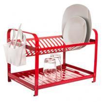 Escorredor de pratos aço inox vermelho epóxi 16 pratos - Mak-inox