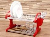 Escorredor de Pratos Brinox Suprema 16 Pratos, Vermelho, 2104/251, Aço Inox -