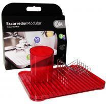 Escorredor Modular 3 peças Vermelho Transparente 99091/1111 - Coza - Coza