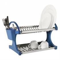 Escorredor Para 16 Pratos Azul Em Aço Inox 2104-261 Brinox -