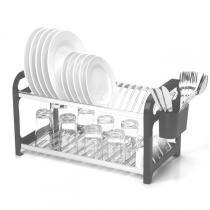 Escorredor para 20 pratos em aço inoxidável com lateral em plástico preto. - Soltecn