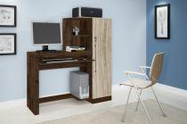 Escrivaninha/mesa de computador com chave de segurança aroeira cacau/avelã jcm movelaria -