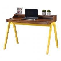Escrivaninha Primer com Prateleira e Gaveta interna - Acabamento PU - Madeira Taeda - Sunset / Amarelo - Seiva