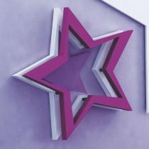 Escultura de Parede Adorno de Parede Estrela Colorido em MDF - Roncali
