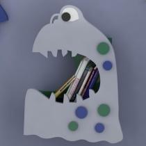 Escultura de Parede Adorno de Parede Infantil Monster 2 em MDF e Poliestireno Pintado - Roncali