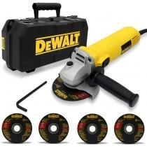 Esmerilhadeira Angular Dewalt DWE4010K 4 1/2 Polegada 11000 RPM 700W 127V 5 Discos Abrasivos Maleta - Dewalt