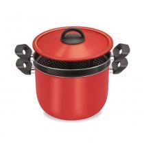 Espagueteira  Vermelha 2 em 1 Alumínio - Dona Chefa -
