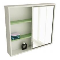 Espelheira de Banheiro 22 Quadrada 60 cm Branco  Verde - Tomdo